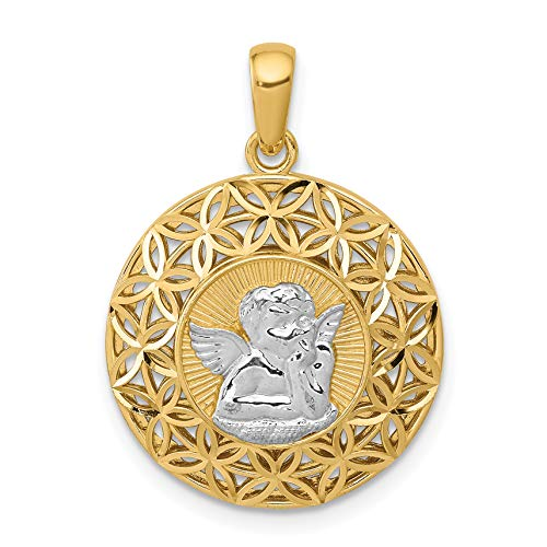 14k Two-Tone Yellow Gold Cherub on Round Pendant with Flower Border 24x17mm