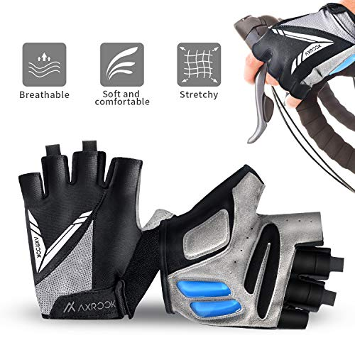 AXRCCK Cycling Gloves for Men Bike Gloves Kids Half Finger Mountain Bike MTB Riding Gloves Boys Fingerless for Gym Cycling Roller Skating and Climbing in Summer Gift Black M (Best Autumn Cycling Gloves)