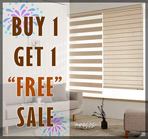 Uno Home Deco Package of Two Premium Quality Horizontal Zebra Blinds for Windows, Extra Large Size Woodlook Ivory Color, W35.4 X H94.5 Inch