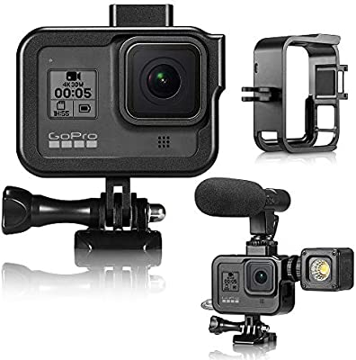 Black YSTFLY Vlog Aluminum Alloy Case Housing Shell Case CNC Protective Cage for GoPro Hero 8 Black with Cold Shoe Mount