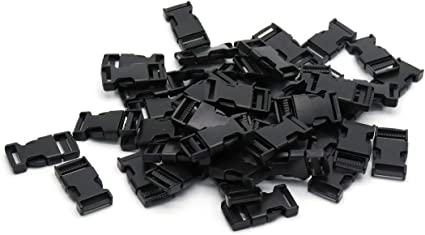 White 20pcs Luggage Bag Belt Strap Webbing Plastic Contoured Quick Side Release Buckles 1cm for Paracord Bracelet