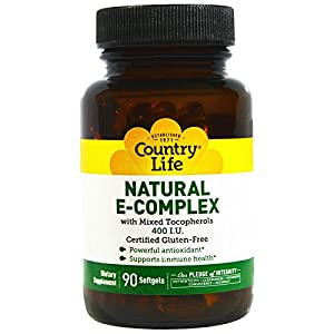 Country Life, Natural E-Complex, with Mixed Tocopherols, 400 IU, 90 Softgels