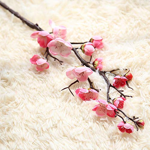 Plum Flower Branch (HOUTBY 6 Pcs Artificial Flowers Spring Cherry Plum Blossom Fake Flowers Bouquet Branch Silk Flower for Home Wedding Decoration DIY)