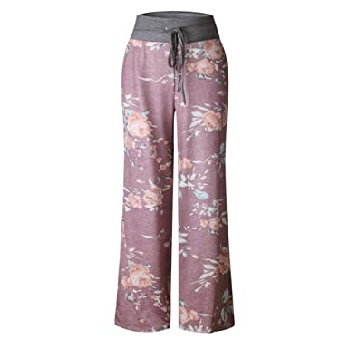 abeaa124a8 GouuoHi Womens Pants Large Size Women Casual Summer Floral Print Loose Yoga  Wide Leg Pants Running