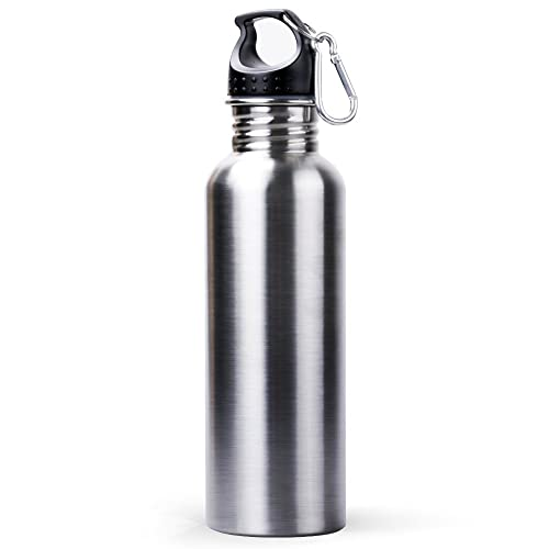 Water Bottle, Sahara Sailor Portable 800ML Eco Friendly Stainless Steel Water Bottle Wide Mouth W Bonus Carabineer for Outdoor Camping Hiking Running Riding