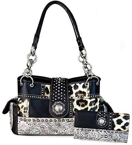 (Montana West Concealed Carry, Floral Tooled Leopard Print Tote (Black))