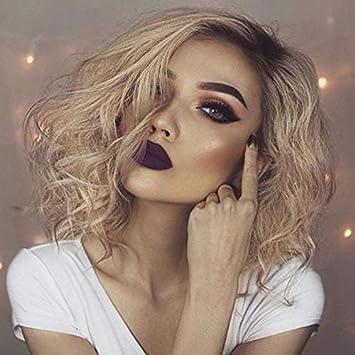 Amazon Com Curly Wave Bob Lace Front Wigs Ombre Platinum Blonde