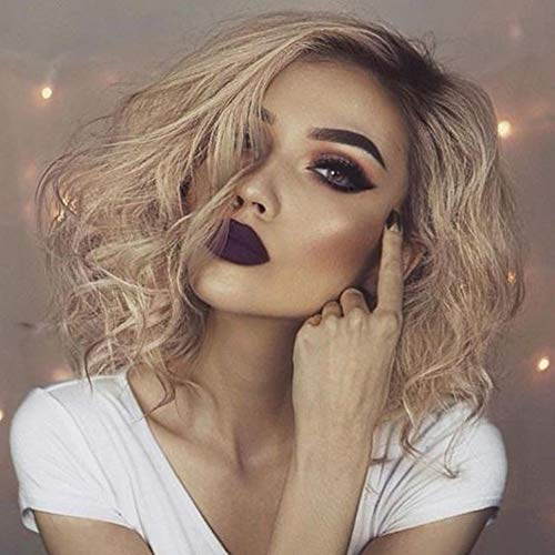 Curly Wave Bob Lace Front Wigs Ombre Platinum Blonde Hair Dark Roots 2 Tone Color Short Wigs Glueless Cap Synthetic Hair Wig for Women,Drag Queen 14 Inch (Ombre Blonde) ()