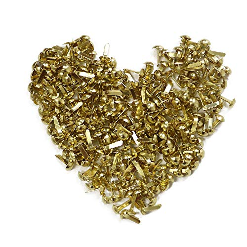 YEJI 200pcs Gold Mini Metal Brad Paper Fastener for DIY Craft 5mm, Paper Crafts, Scrapbooking, Card Making
