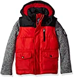 Weatherproof Boys' Outerwear Jacket (More Styles Available)- Chamarra, Rojo (Sweater Sleeves with Red), 5/6