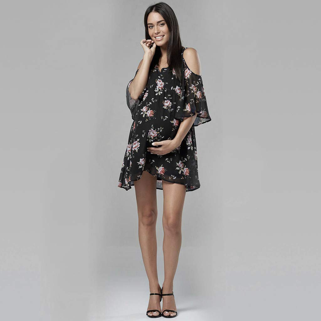 chuxin Huang❤️ Womens Dresses Summer Casual V-Neck Floral Print Cold Shoulders Geometric Tie Front Dress Black by chuxin huang_Maternity Dress (Image #2)
