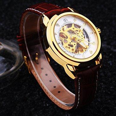 Herrklockor, herr ny rund diamant urtavla mineralglas spegel äkta läderband vattentätt mode mekanisk klocka Black/Coffee