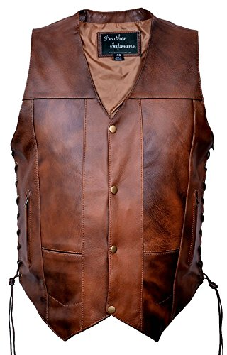 Leather Supreme Men's Ten Pocket Concealed Carry Retro Brown Buffalo Hide Leather Vest with Removable Holster-Brown-52 (Retro Brown Vest Side Laces)