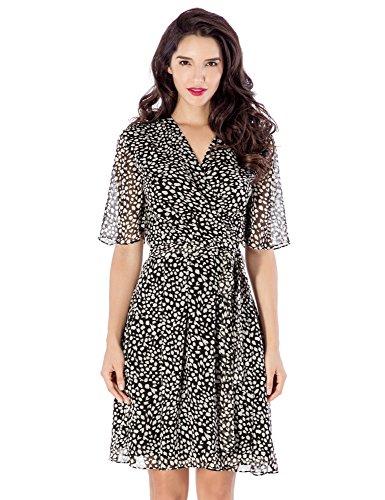 Grapent Women's Black Flutter Sleeve Chiffon Pleated V Neck Summer Short Wrap Dress US 18