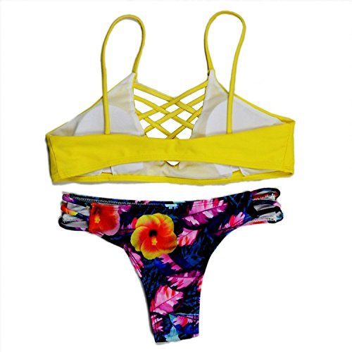 Spring Moon Comfortable Purple Color Braided Criss Cross Strappy Brazilian Bikini For Women Light YellowUS(2-4)=Asian S by Spring Moon Athletic-two-piece-swimsuits