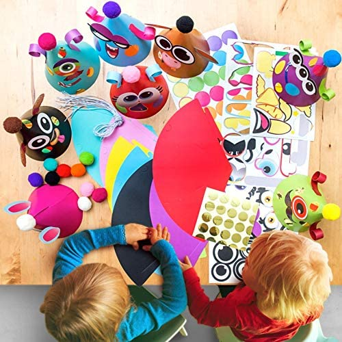 Party Hats Making Activity Kit of 12 c/w Pompom & Stickers. Group Activities, DIY Art & Craft Home Project. Birthday, Christmas, New Year, Easter & Fiesta Decoration for Kid. Boys & Girls Game Supply