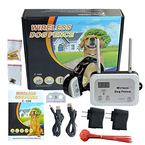 Pet Wireless Electric Dog Fence, Stop Static Electric Shock Dog when Power Cut and Shuts Down, Long Control Range Up to 900 Feet & Display the Distance, 1 Dog Collar Receiver Rechargeable Waterproof