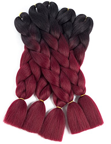 Braiding Hair 5pcs Synthetic Jumbo Braids Hair Extensions High Temperature Twist Braiding Hair by Karida (24inch, 5#-black-red wine)