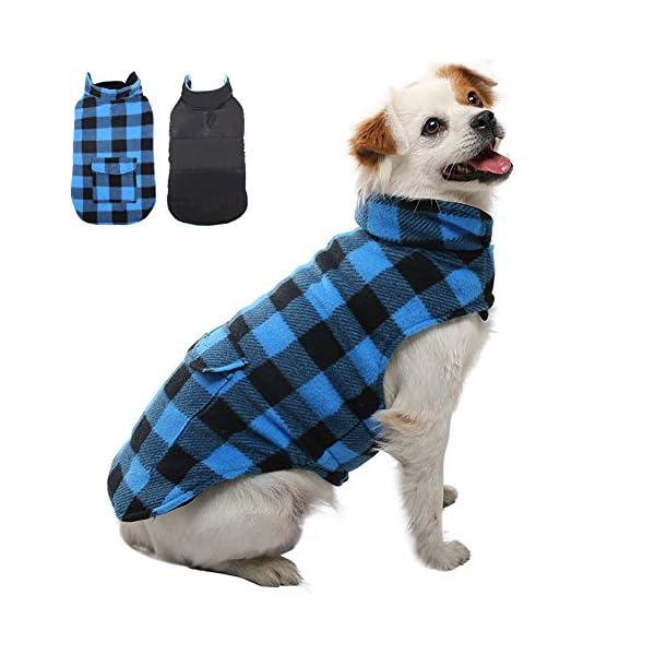 Kuoser British Style Plaid Dog Winter Coat, Windproof Cozy Cold Weather Dog Coat Dog Apparel Dog Jacket Dog Vest for Small Medium and Large Dogs with Pocket & Leash Hook XS-3XL