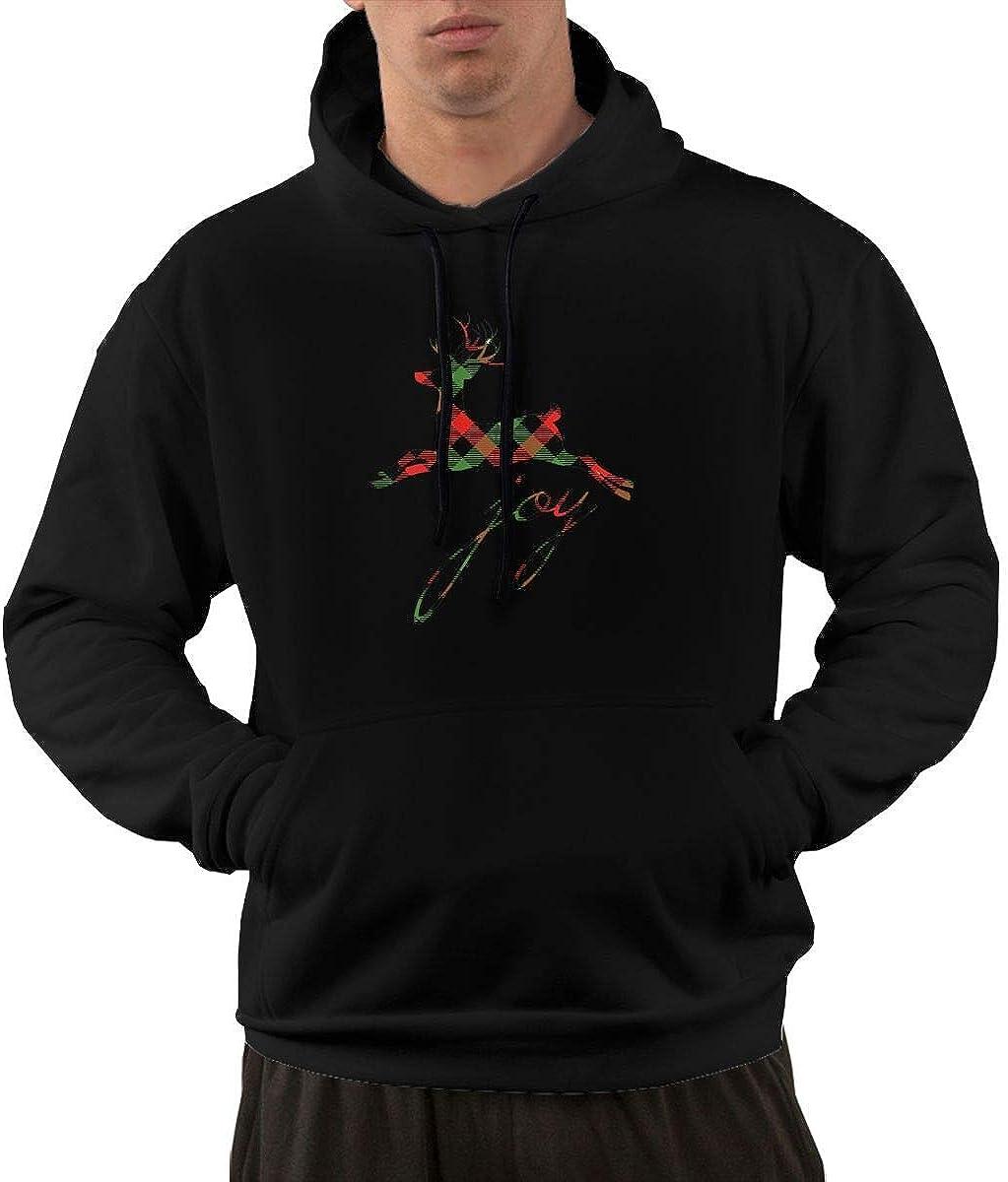 Plaid Reindeer Joy Mens Casual Sweatcoat with Pockets Long Sleeve Zipper Hoodie Black