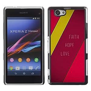 Paccase / Dura PC Caso Funda Carcasa de Protección para - BIBLE Faith Hope Love - Sony Xperia Z1 Compact D5503