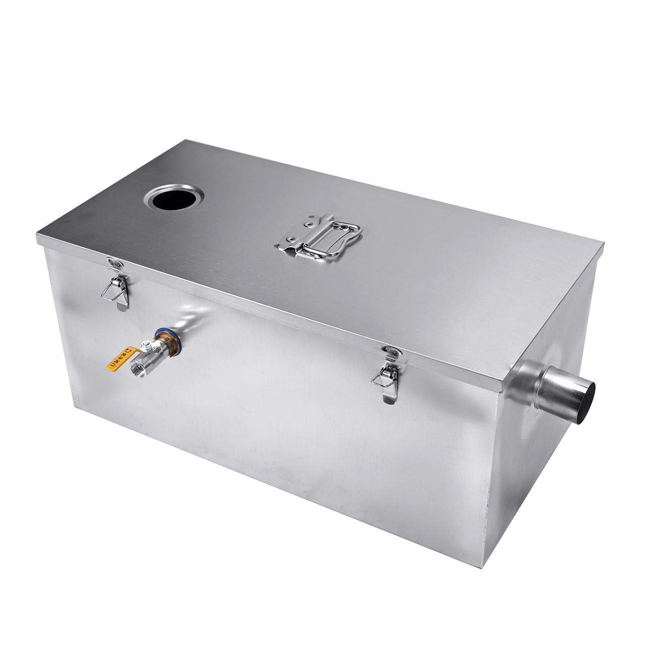 BEAMNOVA Commercial 25LB Grease Trap for Restaurants 13 Gallons Per Minute Stainless Steel Kitchen Interceptor