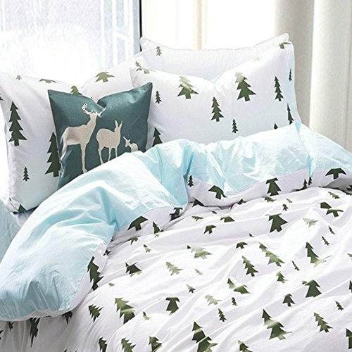 VClife 3pc Full/Queen Comforter Cover (Duvet Cover Set) Kids Adult Christmas Pine Tree Bedding Sets with Two Pillow Shams 100-Percent Cotton, 600 Thread Count