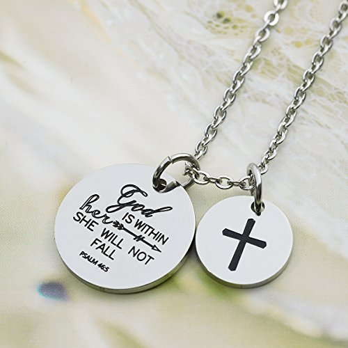 omodofo Christian Necklace Bible Verse Pendant Prayer Charm Necklace for Women Girls (god is within her she will not fall) by omodofo (Image #3)