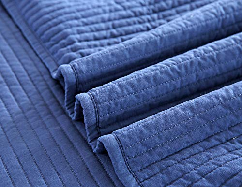 Style Homes 3-Piece Luxury Quilt Set with Sham(s), Ultra Soft Microfiber Bedspread and Coverlet with Half inch Channel Stitch Design, Oversized, King, Blue Indigo by Style Homes (Image #8)