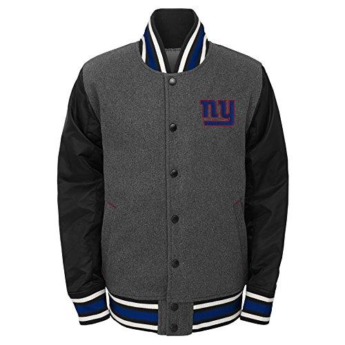 Outerstuff NFL New York Giants Youth Boys Letterman Varsity Jacket Charcoal Grey, Youth Medium(10-12)]()