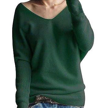 Damen Pullover Sweater Pulli Shirt Langarm V-Ausschnitt 36 38 40 S M