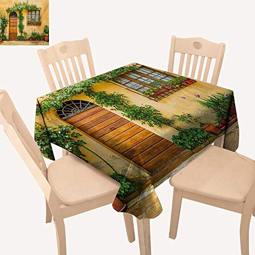 Angoueleven Italy Wrinkle Free Tablecloths Porch with Different Flowers Pots Fresh Green Plants City Life in Tuscany Dining Table Cover Apricot Green Brown W 70