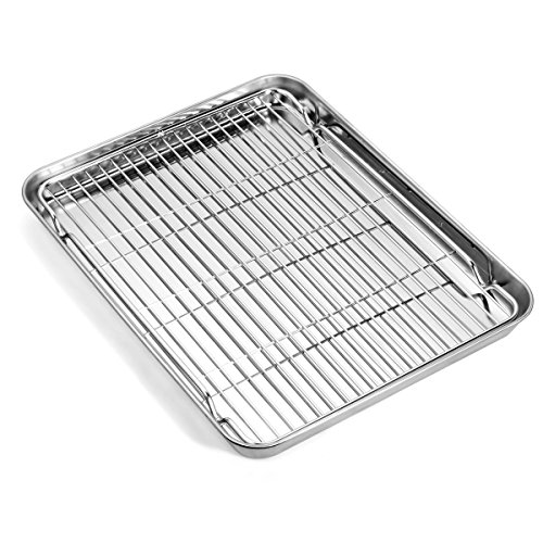 Baking sheets and Rack Set, Zacfton Cookie pan with Nonstick Cooling Rack & Cookie sheets Rectangle Size 12 x 10 x 1 inch,Stainless Steel & Non Toxic & Healthy,Superior Mirror Finish & Easy Clean