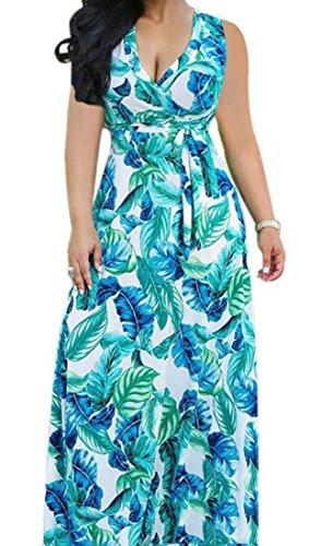 Domple Wrap Swing Blue Long Maxi Dress Light Sleeveless Club Belted Women Floral r6q5xnfrR