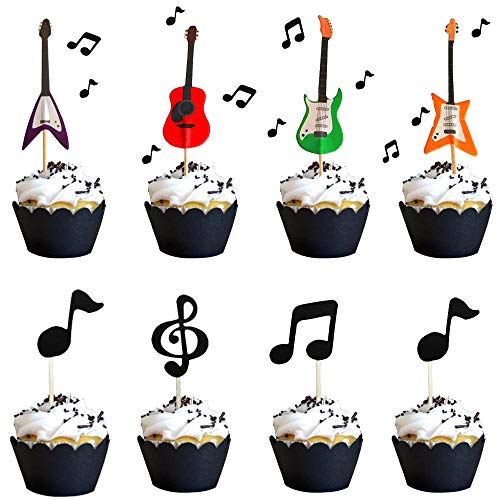 30 Pcs JeVenis Music Notes Cupcake Toppers Guitar Cake Toppers Rock Cupcake Topper for Kids Birthday Musician Party Baby Shower Party Favor