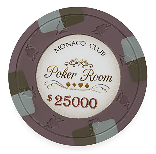 (Claysmith Gaming Pack of 50 Monaco Club Poker Chips, Heavyweight 13.5-Gram Clay Composite (25,000 Brown) )