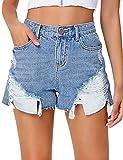 LookbookStore Women's Mid Rise Frayed Ripped Raw Hem Jean Shorts Stars Striped Pockets Denim Pants Light Blue Size XX-Large