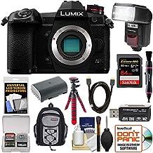 Panasonic Lumix DC-G9 4K Wi-Fi Digital Camera Body with 64GB Card + Battery + Backpack + Flash + Flex Tripod + Kit