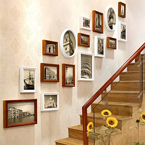 QIAO Hanging Photo Wall Picture Frame Set Hallway Stairs European Wall Decoration 190x155cm (Color : F)