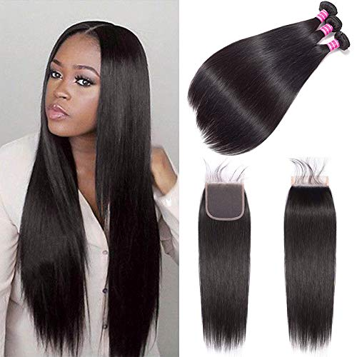 Gabrielle (14 16 18+12) 7A Brazilian Straight Hair 3 Bundles with 4x4 Free Part Lace Closure 100% Unprocessed Brazilian Virgin Human Hair Weave Extension Natural Color Total 330G (11.68 Ounce)