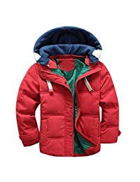 Kids Winter Thicken Hooded Jacket Quilted Puffer Coat for Boys Girls 3t-7
