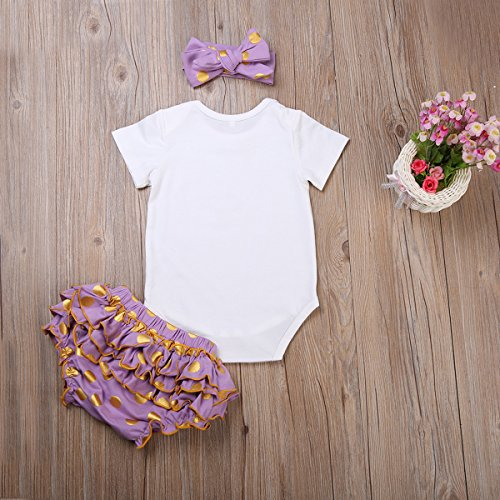 Newborn Baby Girls Clothes Rompers+Ruffel Pants Shorts+Headband 3PCS Outfits Set (0-3M, 2-Day Shipping)
