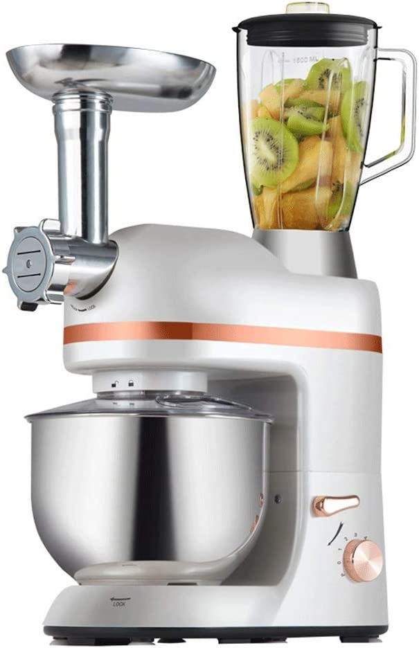 ZQY Gancho Batidora-mezcladora Profesional for Picar Carne 5.5L Cocina un tazón Mezclador eléctrico Que Incluye Mezclador de Masa y batidor de Huevo