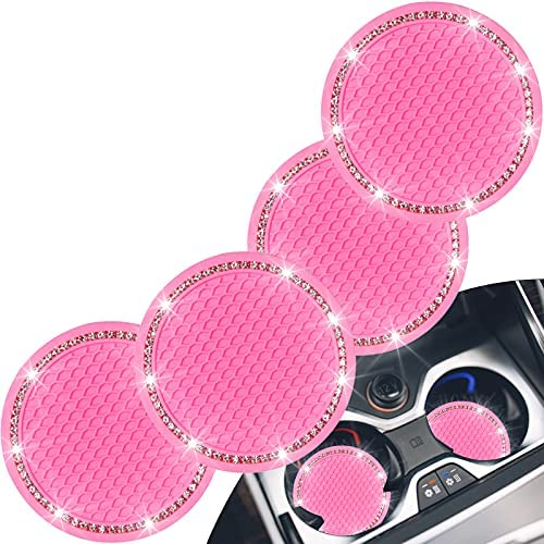 4 Pack Bling Car Coasters, Lauspuck Bling Car Cup Holder Insert Coasters, Silicone Crystal Car Coasters, Bling Cup Holder Coasters-Anti Slip Crystal Cup Mat, Glittering Cup Coaster for Girls(Pink)