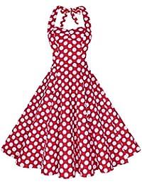 Women's Halter Polka Dots 1950s Vintage Swing Tea Dress