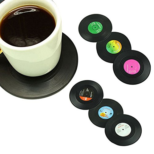Money coming shop 6Pcs/lot Useful Vinyl Coaster Groovy Record Cup Drinks Holder Mat Tableware Placemat Free - Groovy Record