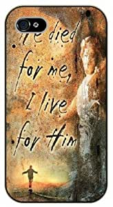 """iPhone 6 (4.7"""") Bible Verse - He died for me, I live for him - black plastic case / Verses, Inspirational and Motivational"""