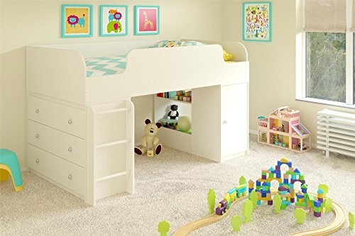 Cosco Products Elements Loft Bed with Dresser and Toy Box Bookcase, White Stipple by Cosco