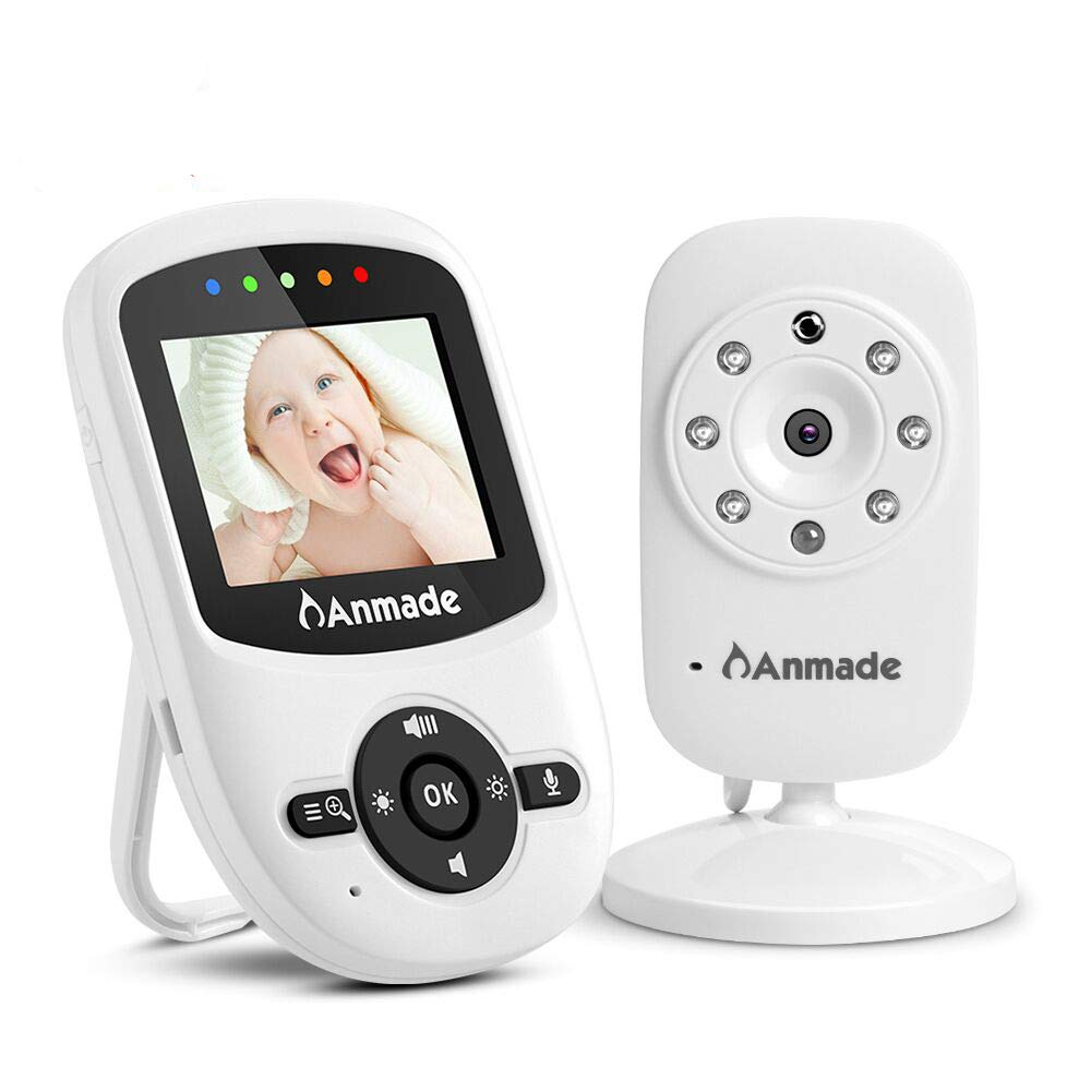 Video Baby Monitor, Anmade Baby Monitor with Camera 2.4 inch Color Screen, Night Vision, Temperature Sensor, 2-Way Talk Audio, Long Range,ECO Mode, Lullabies and High Capacity Battery