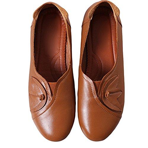 Btrada Dames Slip Op Loafers Schoenen Ronde Neus Casual Rijden Mocassins Plat Comfortabele Bootschoenen Bruin